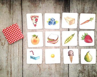 Food Memory Matching Game Educational Game Children's Gift, Picnic Game