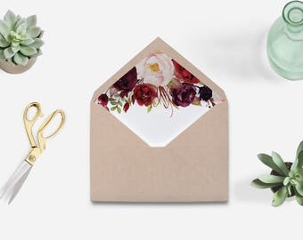 Envelope liner printable, burgundy envelope liner, marsala envelope liner printable, Envelope liner template printable, Envelope liner, FL16