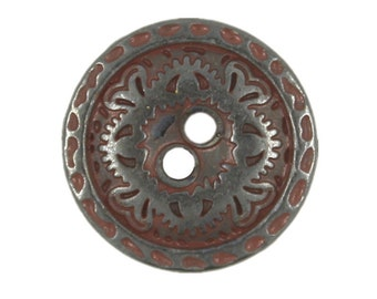 Metal Buttons - Flower Engraving Gunmetal Dull Red Metal Hole Buttons - 15mm - 5/8 inch - 6 pcs