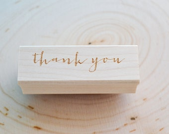 Thank You Word Rubber Stamp - Calligraphy Stamp