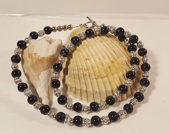 Necklace with Silver and  Black Glass Beads