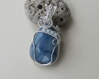 Blue aventurine wire wrapped pendant