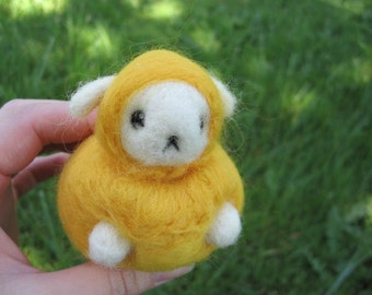 Felted Sheep Yellow Nursery Decor Kawaii