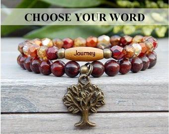 Journey Bracelet, Tree of Life Bracelet, Red Bracelet, Autumn Bracelet, Fall Fashion, Yoga Bracelet, Fall Bracelet, Beaded Bracelet