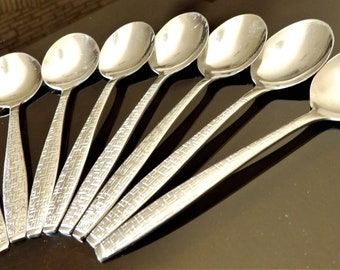 """8 TWA abco Silverware/Spoons--In-Flight Cutlery--5-7/8"""" Long.--Likely Never Used"""