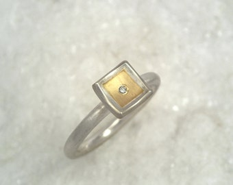 Classy and minimal gold and silver ring with diamond, Geometric ring, Square ring, Two tone ring, Gift for her, Gift for daughter.