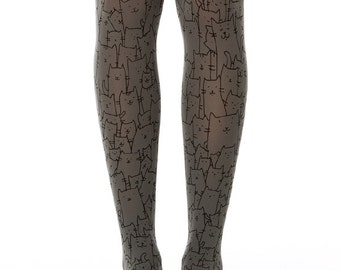 Cute cat tights in grey