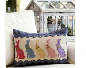 Easter Pillow Pattern, Bunny Pillow Pattern, Bunny Hop #2066 Bunny Hill Designs, Rabbit Pillow Pattern,  Applique Pattern