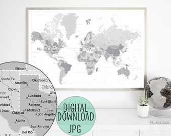 Capitals poster etsy highly detailed map 60x40 printable world map with cities capitals gumiabroncs Gallery