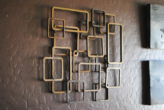 Retro Modern Metal Sculpture Art Abstract Mid Century
