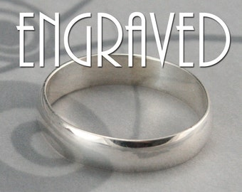 Personalized Ring~Sterling Silver Band~Engraved Ring~Women's Wedding Ring~Name Ring~Date Ring~Men's Wedding Band~4mm Wide Band~Plain Jane