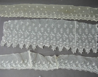 Antique Ivory Cotton Lace Trim Early 1900s, Embroidered Cotton Tulle, 3 pieces Vintage Edwardian Clothing remnants