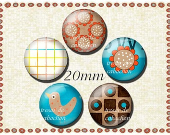 Manual PA061 glass cabochons 5pcs of 20mm vintage, a classic pattern was cool