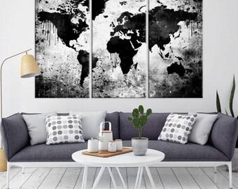 Grayscale world map etsy world map wall art black world map canvas print grayscale world map wall art gumiabroncs Gallery