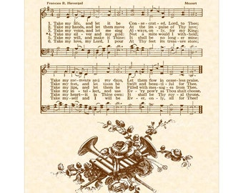 TAKE MY LIFE And Let It Be - Custom Christian Home Decor Vintage Verses Sheet Music Wall Art Inspirational Wall Art Hymn Consecrate Life