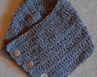 Grey Wool Blend Cowl With Antique Buttons