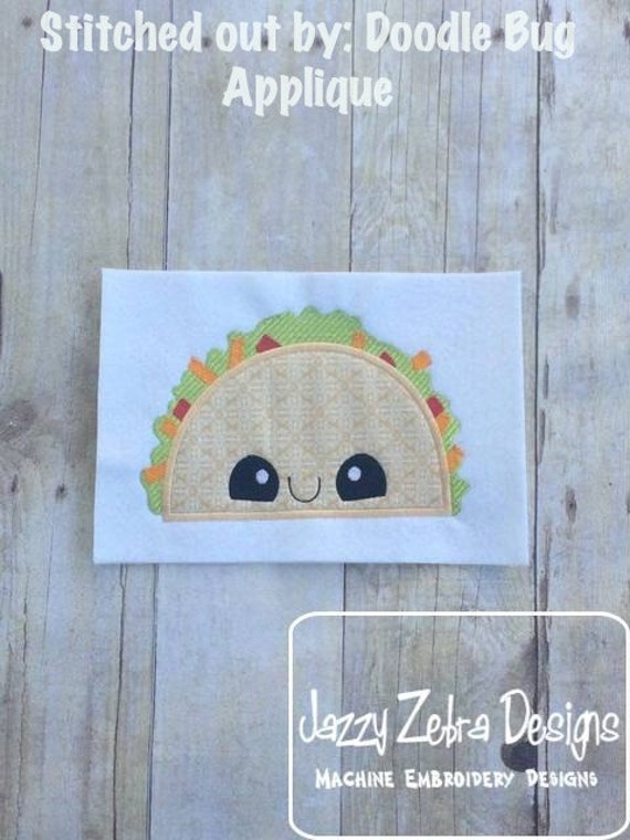 Taco with Face Appliqué embroidery Design - taco appliqué design - taco Tuesday appliqué design - Mexican food appliqué design - food