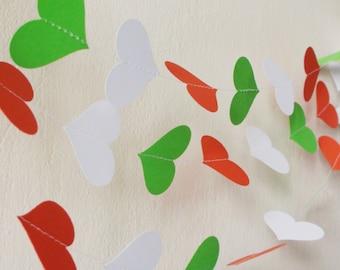 Green White Red garland ,Christmas bunting , Bridal shower , nursery decoration , Italian wedding , Party decor , birthday decoration