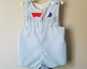 Vintage Boys Jon Jon Romper Shorts in Blue and White Stripes with Sailboats- Size 12 months - New, never worn