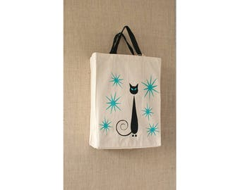 Black Cat, Mid Century, Free Shipping, Canvas Bag, Reusable Grocery Bag, Turquoise, Eco Friendly Bag, Tote Bag, Siamese Cat