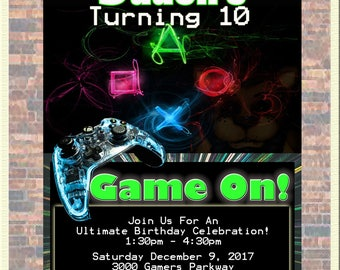 Gamer's Birthday Bash Invitation-Personalized with Your Party Details!