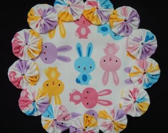 Pastel Bunnies Yo Yo  Doily