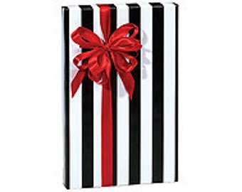 Black and White Stripe  Gift Wrap Wrapping Paper-18ft Roll w. 20Gift Tags