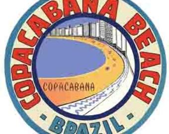Vintage Style Copacabana Beach Brazil Carnival Rio De Janeiro  Travel Decal sticker