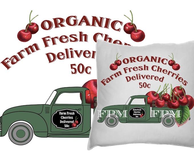 Digital Hand-drawn Vintage Farm Truck, Cherries, Organic Farm, Farmer's Market, Iron On Fabric Transfer