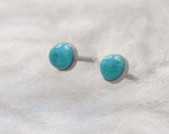Turquoise Gemstone 4mm Bezel Set on Niobium or Titanium Posts (Hypoallergenic Stud Earrings for Sensitive Ears)