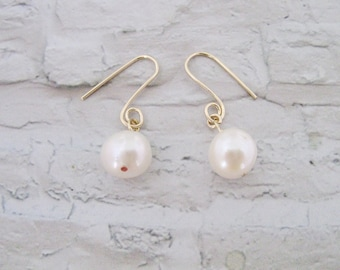 Wedding Earrings, Dangle Earrings, White Pearl Earrings, Gold Filled Earrings, Freshwater Pearl Earrings, Bridesmaids earrings, Under 25