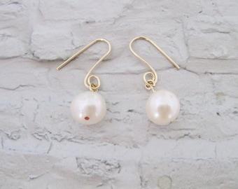 Wedding Earrings, Dangle Earrings, White Pearl Earrings, Gold Filled Earrings, Freshwater Pearl Earrings, Bridesmaids earrings, Under 25