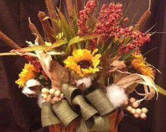 Fall Silk Basket Centerpiece