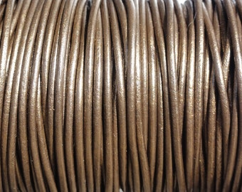 10 Yard Increments 2mm Leather Cord Metallic Brown Round Cord