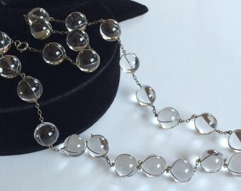 Art Deco Pools Of Light Necklace~Undrilled Rock Crystal Quartz Orbs/Silver