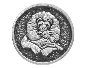 2 Lion and the Lamb 1 inch ( 25 mm ) Pewter Buttons Antique Silver Color