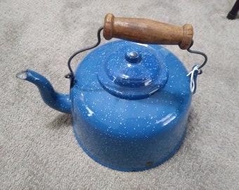 Vintage Blue Speckled Enamel Tea Kettle with wooden handle