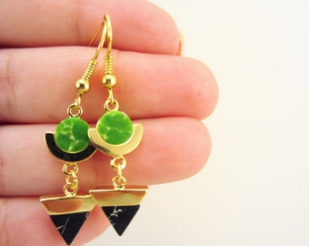 Mother's Day gift. Green and gold earrings. Gold dangle earrings. Marble stones jewelry. Green and black earrings. Geometric earrings.