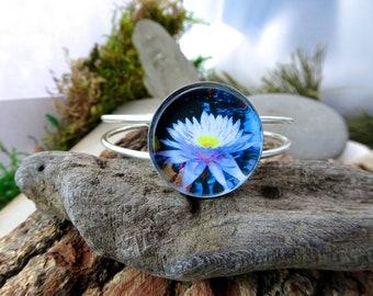 Lotus Flower Bangle Bracelet, Buddism Jewelry, Flower jewelry, Womens Bracelet, Gift For Wife, Girlfriend, Mom, Silver Cuff, Floral