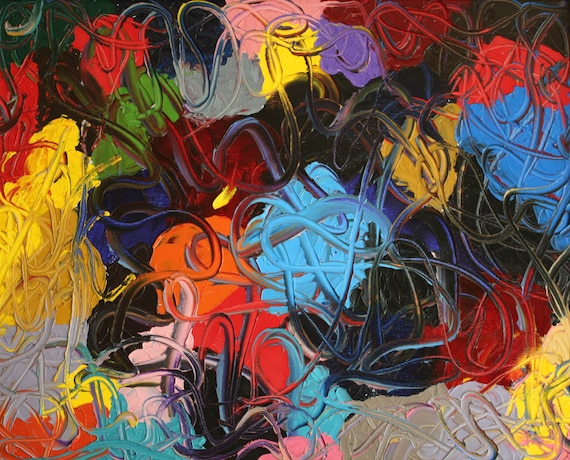 Abstract Colorful Swirls--20x16 original oil on stretched canvas