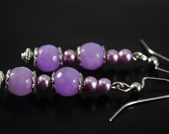 FREE SHIPPING, Purple earrings, lilac earrings, Jade earrings, purple jade earrings, Lavender earrings