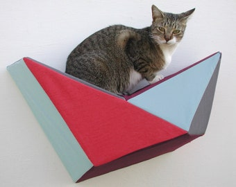 Geometric bed cat wall shelf in red, seafoam, wine & grey