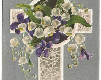 """White Lace Cross with White Lily of the Valley and Purple Violets on Silver gild Background """"Best Wishes for Easter"""" Vintage Postcard"""