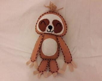 Cute cuddly felt sloth plush toy