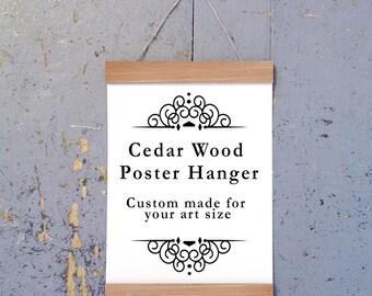 Cedar Wood Poster Hanger, Art Hanger,  poster frame, picture hanger, Natural Cedar Wood, Handmade Frame