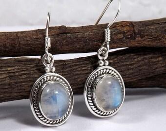 Rainbow Moostone Earring, Moonstone Earring, Rainbow Earring, 925 Sterling Silver, Gemstone Earring, Solid Silver Earring, Gift Idea, Gifts