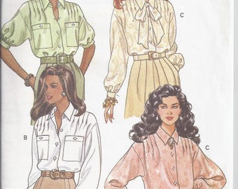 Butterick 6357 Sewing Pattern from 1996.   Misses blouse, front tucks, loose fit  Bust 30 1/2-32 1/2  UNCUT