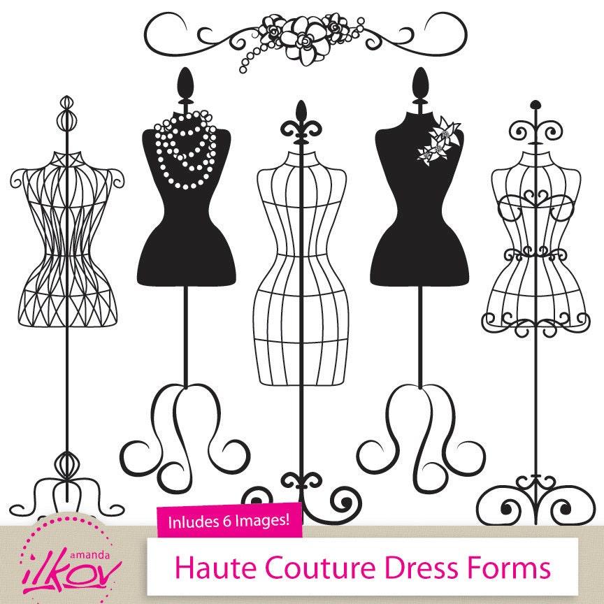 professional fashion clip art dress forms clip art for rh etsy com Dress Form Illustration dress form silhouette clip art