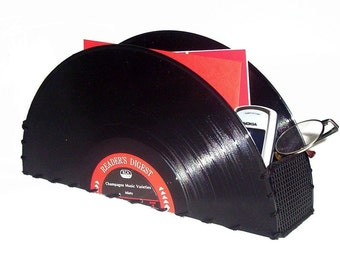 Upcycled Record Storage Container  Home Decor, Office Accessories, Recycled Record