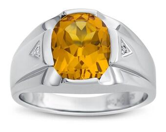 Men's Silver Citrine Ring with Diamonds